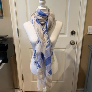 COACH Blue, Beige, and White Linen Scarf/ Shawl